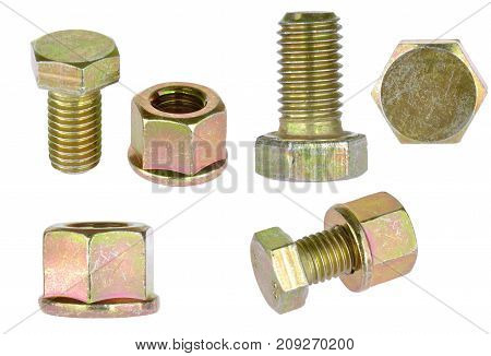 Zinc hex bolt with lock washer nut isolated on white background