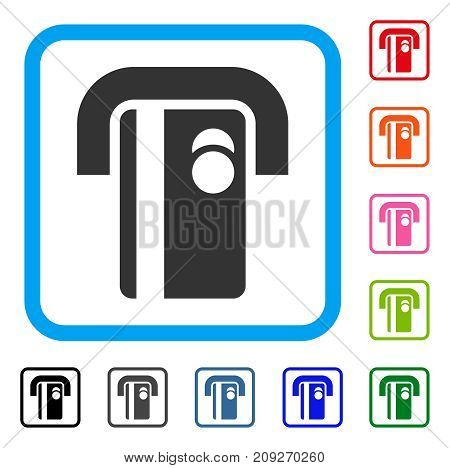 Bank Terminal icon. Flat grey pictogram symbol inside a light blue rounded squared frame. Black, gray, green, blue, red, orange color additional versions of Bank Terminal vector.