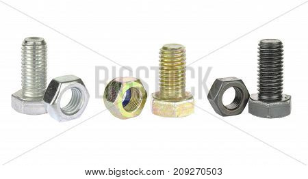 Metal hex bolt with nut. Collection of metallic, black and zinc screws isolated on white background
