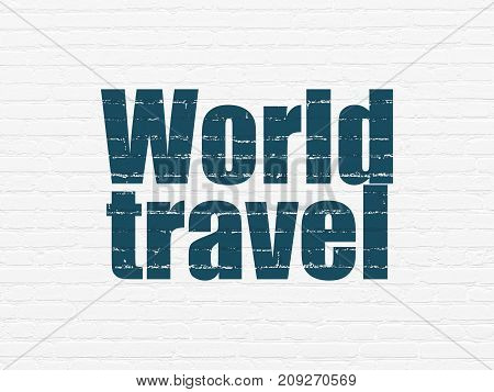 Tourism concept: Painted blue text World Travel on White Brick wall background