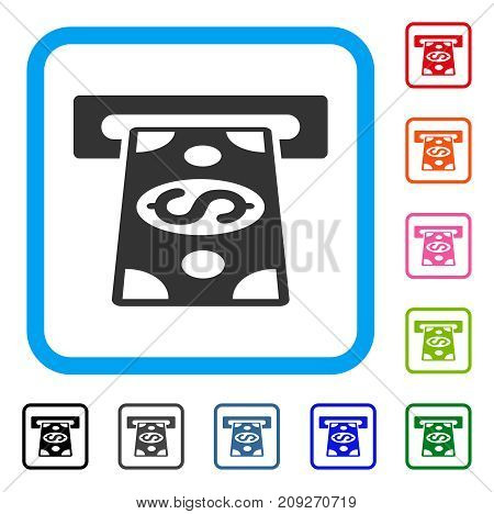 Cash Withdraw icon. Flat grey pictogram symbol inside a light blue rounded rectangular frame. Black, gray, green, blue, red, orange color variants of Cash Withdraw vector.