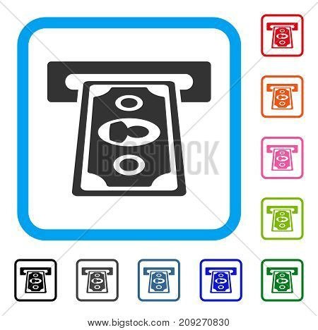 Cashpoint Terminal icon. Flat grey iconic symbol in a light blue rounded frame. Black, gray, green, blue, red, orange color additional versions of Cashpoint Terminal vector.