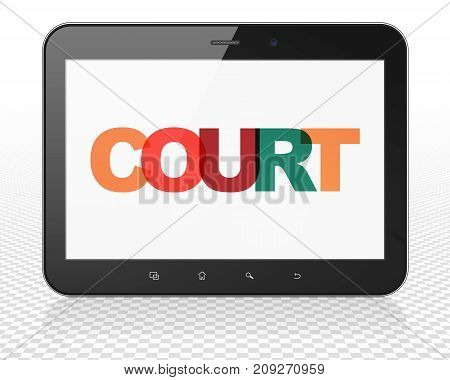 Law concept: Tablet Pc Computer with Painted multicolor text Court on display, 3D rendering