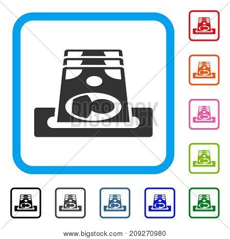 Payment Terminal icon. Flat gray pictogram symbol inside a light blue rounded rectangular frame. Black, gray, green, blue, red, orange color versions of Payment Terminal vector.