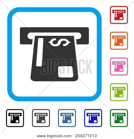 Payment Terminal icon. Flat gray pictogram symbol inside a light blue rounded squared frame. Black, gray, green, blue, red, orange color versions of Payment Terminal vector.