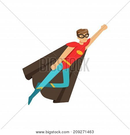 Male superhero in classic comics costume with black cape and mask. Smiling flat cartoon character with super powers. Friendly man hero in flying pose. Vector illustration isolated on white