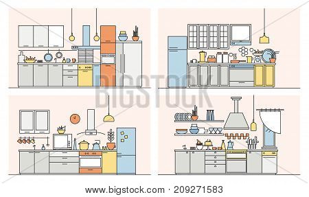 Collection of kitchens full of modern furniture, household appliances, cookware, cooking facilities and home decorations. Set of elegant interiors drawn in line art style. Vector illustration