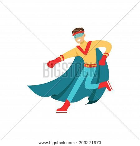 Boy superhero in classic comics costume with blue cape and mask. Smiling flat cartoon hero character with super powers. Friendly man dance and have fun. Vector illustration isolated on white