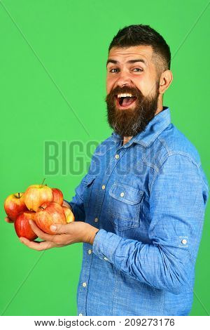 Gardening And Fall Crops Concept. Farmer With Cheerful Face