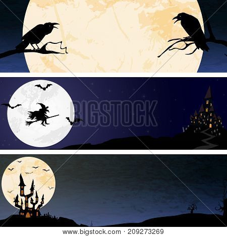 Halloween Scary Moon Banner Backgrounds