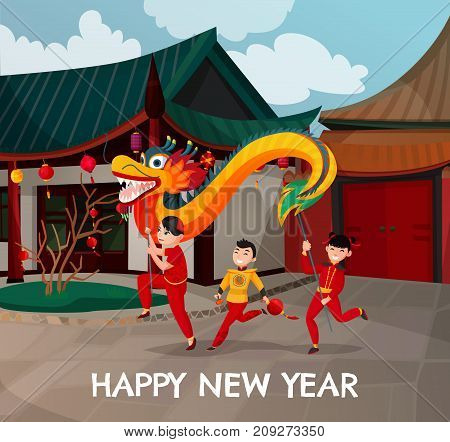 Chinese new year, dancing kids with colorful dragon and paper lanterns on background of homes vector illustration