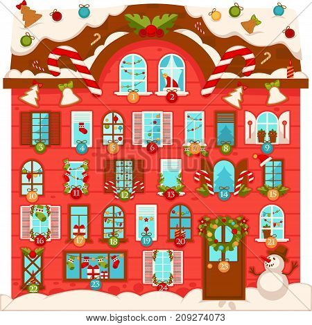 Huge Christmas house with lot of large numbered windows, decorated with sweet cane lollipops, decorations for festive tree, plants in wreaths and dressed snowman beside entrance vector illustration.