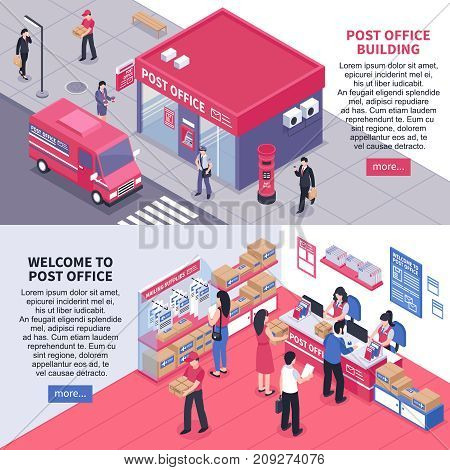 Post office isometric horizontal banners with views from inside and outside staff and correspondence recipients vector illustration