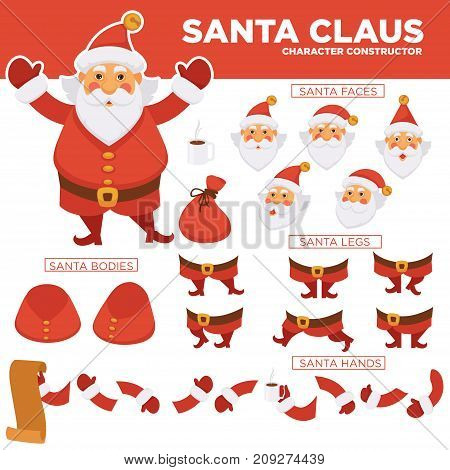 Santa Clause character constructor with spare bearded face, legs in boots, plump body, hands in mittens, long paper list of kids isolated cartoon flat vector illustration on white background.