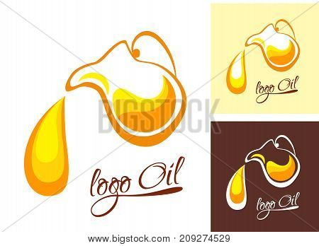 The logo for the company engaged olives oil. Symbol bottle with olives or sunflower oil on white background. Logo vector - oil. Flat style.