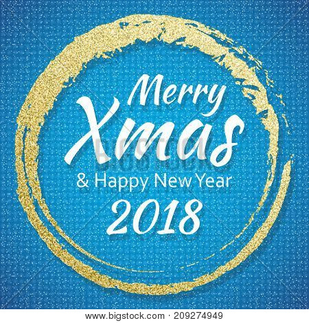 2018, Gold and blue card with Merry Christmas text and glitter frame. Sparkling holiday background, vector dust border. Great for Christmas and New Year cards, invitations and posters.
