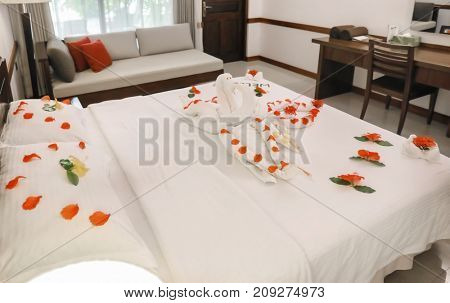 Hotel room prepared for romantic date