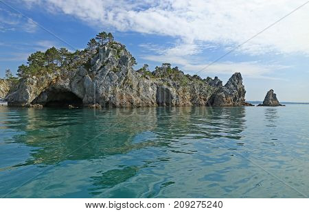 The Ile Vierge Pointe de Saint-Hernot seen from the boat Crozon peninsula Finistere Brittany France