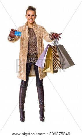 Fashion-monger On White Showing Shopping Bags And Credit Card