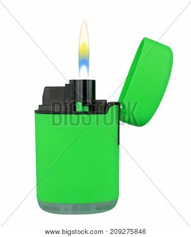 Plastic Gas Lighter With Flame - Green