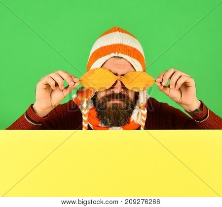 Hipster With Beard And Strict Face Closes Eyes With Leaf