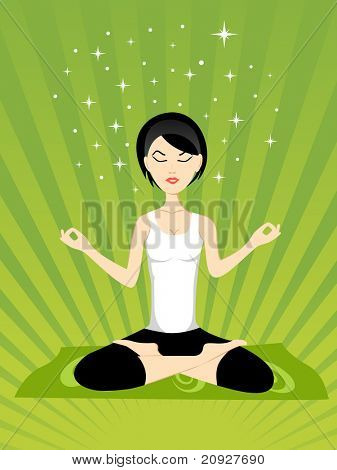 abstract green rays background with yoga girl