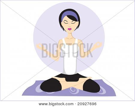vector illustration of yoga pose with abstract background