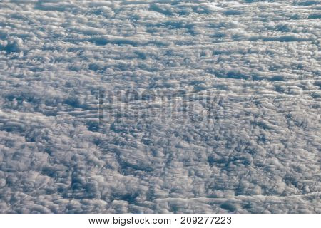 Beautiful stratus clouds texture view from above