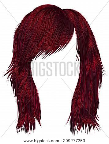 trendy woman hairs Red color . medium length . beauty style . realistic 3d .