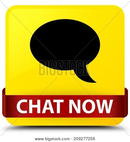 Chat Now Yellow Square Button Red Ribbon In Middle