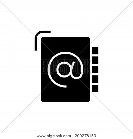 address book icon, illustration, vector sign on isolated background
