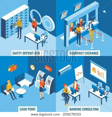Bank services vector flat 3d isometric poster set. Safety deposit box, currency exchange, cash point and banking consulting concept design elements for web banners, print, infographics.