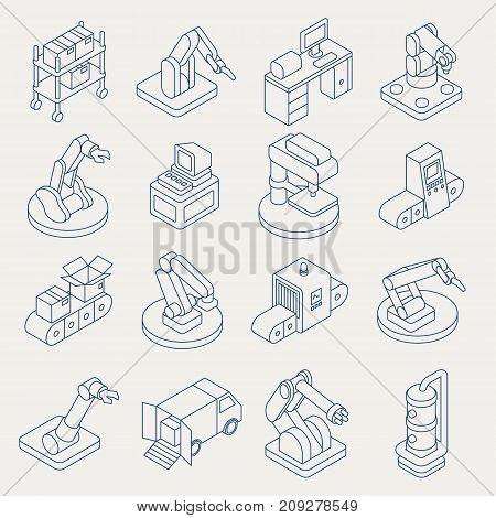 Vector automated production line isometric thin line icon set. Manufacturing equipment with conveyor system, industrial robotic arm for assembly and packaging.