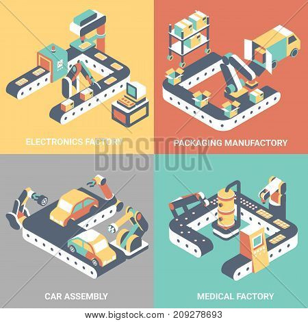 Factory automation vector flat isometric poster set. Electronics factory, Packaging manufactory, Car assembly, Medical factory concept design elements for web banners, print, infographics.