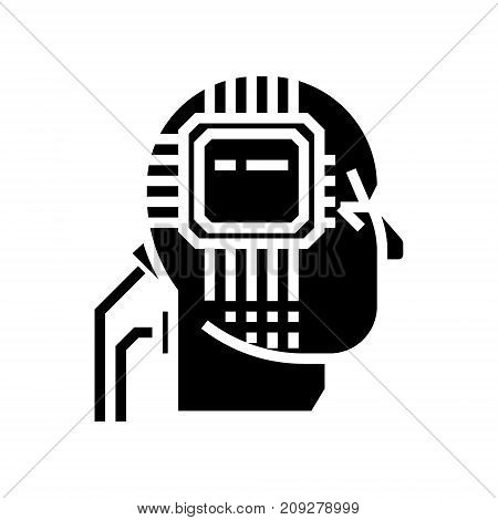 artificial interlligence - ai - human head - microscheme icon, illustration, vector sign on isolated background