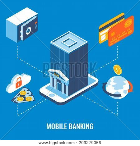 Mobile banking vector flat 3d isometric illustration. Payments with smartphone concept.