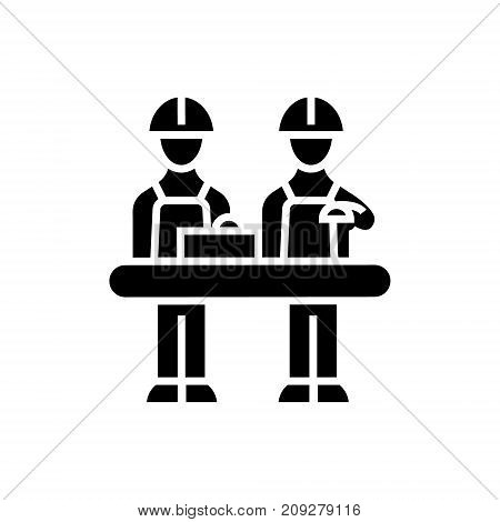 assembly line icon, illustration, vector sign on isolated background