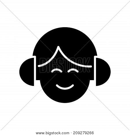 audio listening - man with headphones icon, illustration, vector sign on isolated background