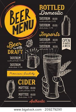 Beer drink menu for restaurant and cafe. Design template with hand-drawn graphic illustrations.