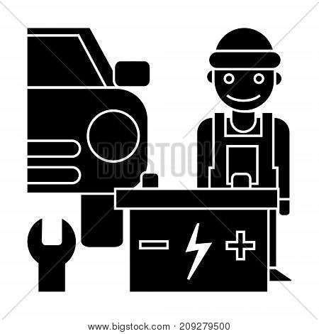 auto service icon, illustration, vector sign on isolated background