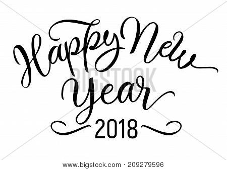 Happy New Year lettering. New Year greeting card. Black inscription with swirl elements. Handwritten text, calligraphy can be used for greeting cards, posters, leaflets.