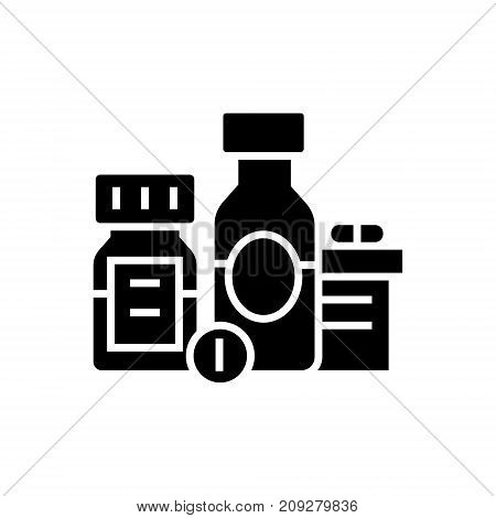 baa - biologically active additives - pills - medicament icon, illustration, vector sign on isolated background