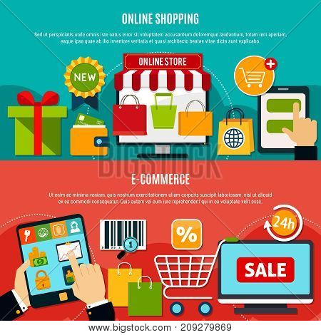 E-shopping horizontal banners with online store, wallet, app on electronic device, 24h service isolated vector illustration