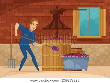 Winery red wine production process with winemaker  pressing grapes for fermentation cartoon composition poster vector illustration