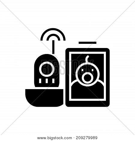 baby video monitor icon, illustration, vector sign on isolated background