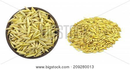 Oat pile top view isolated on white background