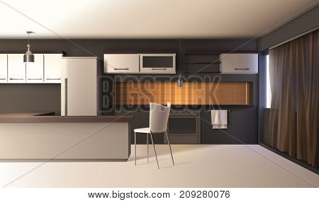 Modern kitchen interior realistic composition with studio apartment furniture cupboard cabinets and wooden table with shadows vector illustration