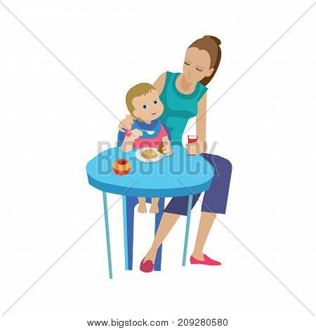 Mother and baby in different lifestyle situations. Happy family. Mother, woman feeds baby delicious eating in the home room. Healthy and organic clean food. Vector illustration in cartoon style.