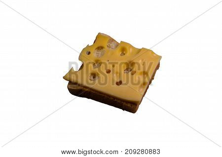 Piece Of Cheese On The Toast Isolated On A White Background