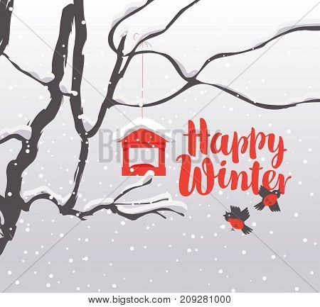 Vector winter landscape with red calligraphic inscription Happy Winter with snow-covered branches of a tree bullfinches and a bird feeder in the snow in flat style